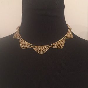 Vintage Gold Triangles & Rhinestones Necklace